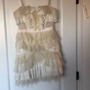 Tulle silk and feather party dress